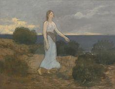 Pierre Puvis de Chavannes 1824 - 1898. LA FÉE AUX GRÈVES (FAIRY OF THE STRAND OR YOUNG WOMAN WALKING ALONG THE SHORE)