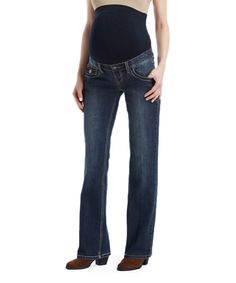 Bella Vida Dark Blue Loop Maternity Bootcut Jeans