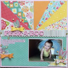 Peek-A-Boo - Scrapbook.com- a colorful burst of patterned paper stitched together is a fun highlight for your layout!