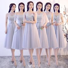 Affordable Grey See-through Bridesmaid Dresses 2018 A-Line / Princess Appliques Lace Bow Sash Tea-length Ruffle Backless Wedding Party Dresses