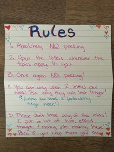 Open When Letter Rules