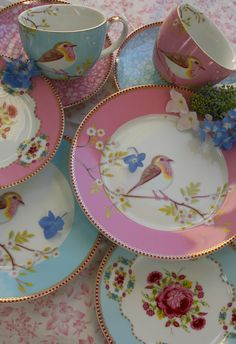 Pretty china with robins
