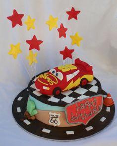 "Mud Chocolate Cake - Lightning McQueen Theme - Rice Krispy/Fondant Mcqueen, Gumpaste Stars & ""Happy Birthday"""