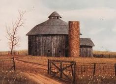 Painting showing a round barn in McCordsville, Indiana, as it originally looked when it was built in has now been turned into an inn. I love round barns. Farm Barn, Old Farm, Country Barns, Country Life, Country Roads, Country Living, Barn Pictures, Barns Sheds, Old Houses