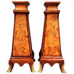 Pair of Italian 19th Century Louis XV Style Walnut Pedestals