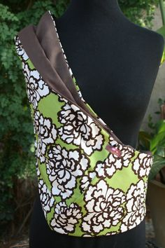 Baby+Sling+Baby+Carrier++Green+and+Brown+Peony+by+Essiedesigns,+$24.99
