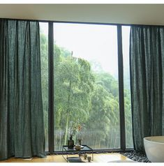Pair of Pure Linen Curtain Over 100 Colors ,Living room & Bedroom Curtains, Long Linen Curtains,Rustic Curtains, Dark Forest Green Dark Curtains, Dining Room Curtains, Green Curtains, Rustic Curtains, Hanging Curtains, Panel Curtains, Bedroom Curtains, Living Room Colors, Living Room Bedroom