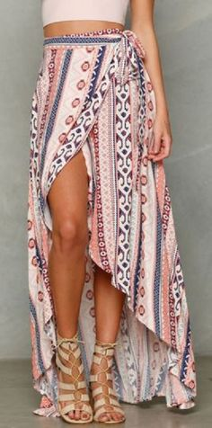 """For some reason, I hate the phrase """"Ethnic Print."""" But this skirt is hella cute"""
