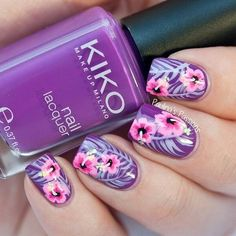 Purple Nails with Pink Floral Hibiscus style flowers free hand Nail Art