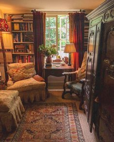This room is full of rich warm color and books and comfortable places to sit and read. I just keep filling my Wedgwood ale jugs with autumnal snips from the garden, maybe fall will really come one day soon! Thank you Bennison Jeyakar English Country Decor, English Cottage Style, French Country, English Cottage Interiors, Home Libraries, Cozy Room, Cozy Reading Rooms, Reading Nooks, Cozy Living Rooms