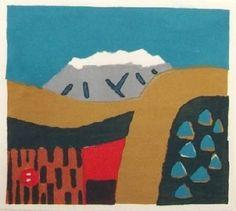 Alps in Japan. Woodblock print by Umetaro Azechi.