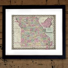 Antique Map of the State of Missouri ca 1855 by PortofPrints
