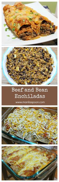 Hearty and  delicious Beef and Bean Enchiladas! I promise you will love this recipe. This one-dish casserole is also completely gluten-free. #beef #bean #enchiladas #glutenfree