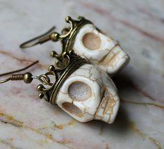 Day of the Dead Dia de los Muertos Traditional King Crown White Skull Dangle Original Earrings Atlanta Jewelry
