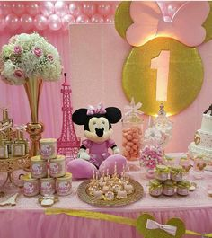 Party minie decoración fiesta. Minnie Mouse Birthday Outfit, Minnie Mouse Theme, Minnie Mouse Baby Shower, Mickey Birthday, 1st Birthday Girl Decorations, 2nd Birthday Parties, Minnie Mouse Clubhouse, 1st Birthdays, Backdrops