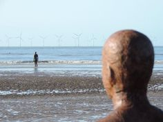 """Watching the tide go out at Crosby beach near Liverpool - Antony Gormley's ""Another Place"""" Antony Gormley Another Place, Crosby Beach, Liverpool, Tours, Twitter, Places, Art, Art Background, Kunst"