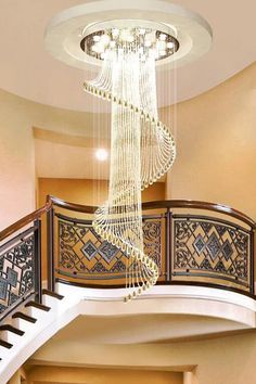 $259.99-This Modern Art Design Spiral Crystal Chandelier will be a perfect choice to fill in the space for your Foyer, Entryway or Staircase. Modern Art, Lighting Makeover, Staircase Chandelier, Creative Lighting Fixtures, Crystal Chandelier, Modern, Home Decor, Chandelier, Ceiling Lights