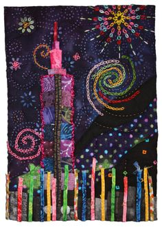 Embroidery on quilt: Resplendent Taipei 101 by Ming-Mei Huang. SAQA Member art: 2014 trunk show