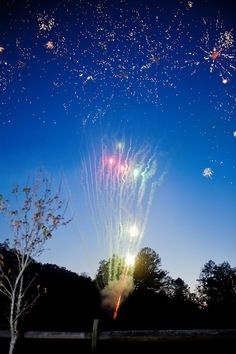 Fireworks at a Rustic Wedding Reception