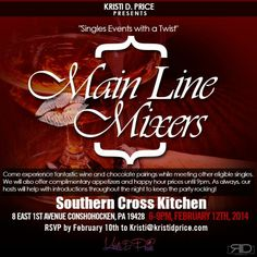 Join me in Conshohocken at Southern Cross Kitchen on Wednesday, February 12th for the next Main Line Mixers event!