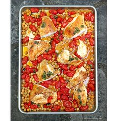 Smoky Roasted Chicken Breasts with Chickpeas Tomatoes and Cilantro Sheet Pan Meal – Get the recipe from Taste Food Blog.