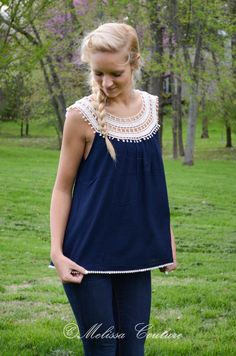 Navy Crochet Lace Top