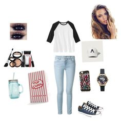 """Baseball game"" by menna121 ❤ liked on Polyvore featuring Frame Denim, Converse, Abercrombie & Fitch, Olivia Burton, Laura Geller, ALADDIN and Nespresso"