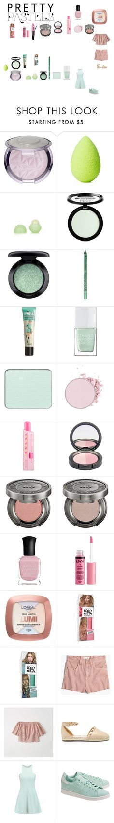 """pastel make up"" by effyswanhaze ❤ liked on Polyvore featuring beauty, beautyblender, Eos, NYX, MAC Cosmetics, Benefit, The Hand & Foot Spa, shu uemura, Sephora Collection and Urban Decay"