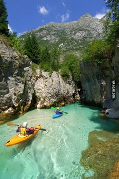 Kayaking on glacial waters in Slovenia