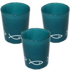 3 Stueck Teelichtglaeser tuerkis
