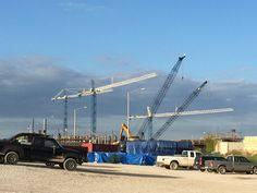 Beautiful September 2015 morning as cranes are busy swinging material to workers below as the worlds largest denitrification facility continues