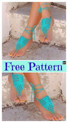 b08947740d085 10 Most Unique Crochet Barefoot Sandals - Free Patterns