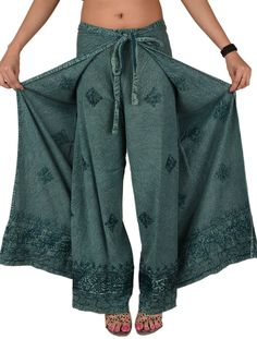 Skirts 'N Scarves Women's Embroidered Rayon Wrap / Palazzo Pant (Grey) at Amazon Women's Clothing store: