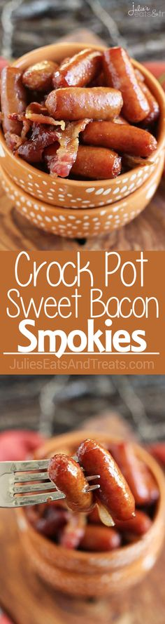 Crock Pot Sweet Bacon Smokies ~ Delicious Smokies Covered in Butter and Brown Sugar and Loaded with Bacon! Perfect Appetizer for Anytime! ~ https://www.julieseatsandtreats.com