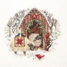 Christmas Cross Stich - Winter Sheep Barn with Birds - Detail