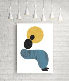 Silhouette abstract art print minimalist poster living by FLATOWL