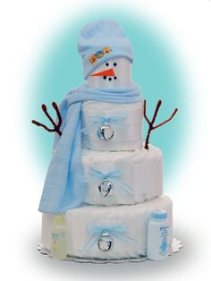 Snowman Diaper cake - Great winter baby shower gift!