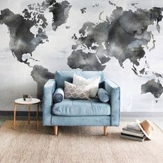Ophelia Wall Mural - Beautiful Hand painted Wallpaper to Order today from UrbanWalls. World Map Mural, World Map Decor, Map Painting, Painting Wallpaper, Map Monde Deco, Travel Room Decor, Travel Theme Rooms, Travel Themed Bedrooms, Travel Bedroom
