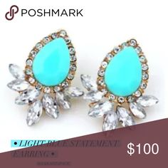 • light blue statement earring • Light blue earring. This blue is super cute and goes with a lot of stuff. Will dess up any simple top :) Boutique  Jewelry Earrings