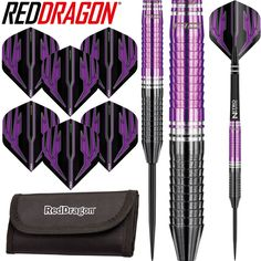 Red Dragon - Razor Edge Darts - - Steel Tip - Tungsten - Black & Purple. Quality Products, Modern Website, Exceptional Service, Same Day Dispatch, Afterpay Available & More. Darts For Sale, Darts And Dartboards, Best Darts, Nitro Tech, Modern Website, Superhero Design, Black Polish, Red Dragon, Gaming