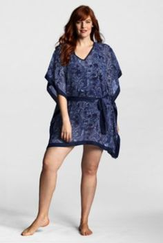6f0bdf63e0712 Women s Plus Size Regatta Chiffon Etched Paisley Cover-up Poncho from Lands   End Lands