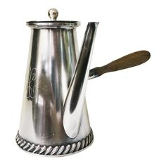 Antique Silver Plate Tiffany & Co Chocolate Pot With Side Handle late 1800s    | Chairish Stir Sticks, Chocolate Pots, Watering Can, Antique Silver, Silver Plate, Tea Pots, Plates, Antiques, Tiffany