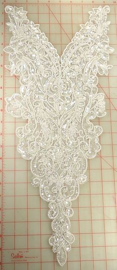 """Extraordinary white beaded extra large applique with clear sequins bridal 23x10"""""""