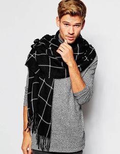ASOS Blanket Scarf in Black Grid Check