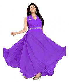 Ethnicbasket Womens Velvet & Georgette Gown In Purple Color