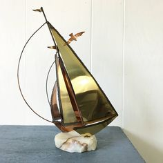 vintage sailboat sculpture - brass copper metal art - Curtis Jere style - nautical beach house decor by ninedoorsvintage on Etsy