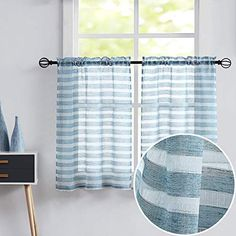 Fragrantex Kitchen Curtains Blue and White Sheer Striped for Small Windows Linen Short Cotton-Like Tier Drapes for Bathroom, 28″ W x36 L,2 Panels Voile Curtains, Cafe Curtains, Kitchen Curtains, Small Windows, Interior Decorating, Interior Design, Soft Furnishings, Bed Sheets, Luxury Homes