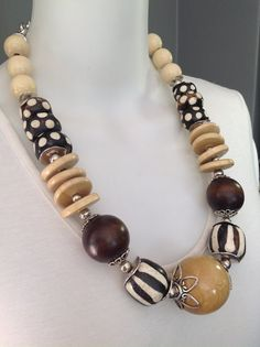 Bold, ethnic tribal statement necklace - Neutrals, wood, bone by Afrigal Designs