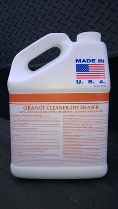 1 GAL ORANGE CLEANER/DEGREASER 100% D-LIMONENE ~ Also available in 6x1, 4x1, & 2x1 bundles. ~ Liquid ~ Affordable ~ Citrus Surfactant ~ Minimal Effort ~ Pleasant Scent ~ Rinses Clean ~ Heavy Duty ~ EPA Approved ~ High Solvency Action ~ Safe on Metals & Painted Surfaces ~ Emulsifies even the most built-up grease, oil, & dirt. Use on automobile parts, wheel arches, undercarriages, concrete, masonry, driveway  grease, garage floors, etc. Call 888-896-4827. Visit patriotchemicalcompany.com.