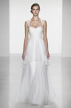 Tulle straps wedding dress by Christos, Fall 2014